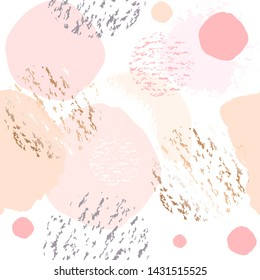 Seamless pattern. Peach, pink, gold, nude round spots on a white background. Abstract background.