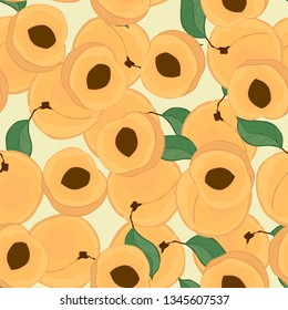 Seamless pattern with peaches.