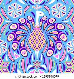 Seamless pattern with peacock and abstract flowers on blue background. It be perfect for stationery, clothing, accessories, invitation cards, packaging and more.