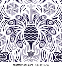 Seamless pattern with peacock and abstract flowers on white background.