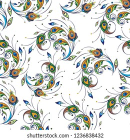 Seamless pattern with peacock feathers.