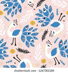 Seamless pattern with peacoks and loral elements. Creative childish texture. Great for fabric, textile Vector Illustration