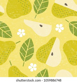 Seamless pattern. Pear juicy fruits leaves and flowers on shabby background.