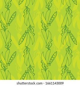 Seamless pattern of peas. Pea vine.Green pea. Ripe vegetables.Flat style.For fabric, paper, Wallpaper design.Vector file.