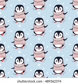 Seamless pattern with penguin animal in cute red sweater. Endless texture with funny polar winter bird. Wallpaper design with cartoon character. Wild penguin in flat style design. Vector