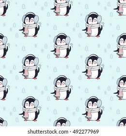 Seamless pattern with penguin animal in scarf and headphones. Endless texture with funny polar winter bird. Wallpaper design with cartoon character. Wild penguin in flat style design. Vector