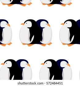 Seamless pattern with penguin. vector flat illustration. Wrapping paper. Cartoon penguin isolated on white background