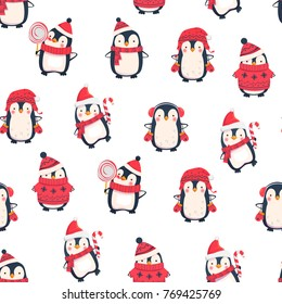 Seamless pattern with penguins. Cute penguin cartoon illustration. Animals pattern