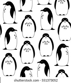 Seamless pattern with penguins. Graphic decorative background