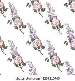 Seamless pattern of peonies and Wisteria. Vector illustration.