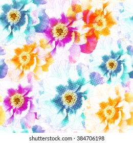 Seamless pattern with peony colorful  flowers. Vector, EPS10.