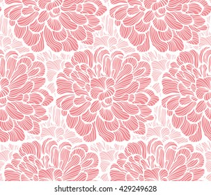 Seamless pattern with peony ornamental floral. Background design.