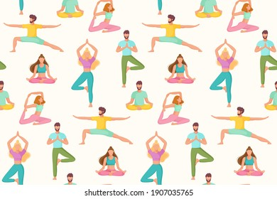 Seamless pattern with people in different yoga position. Physical and spiritual practice. The concept of yoga, meditation and relax. Flat vector illustration.