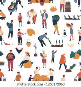 Seamless pattern with people gathering crops in autumn. Backdrop with farmers harvesting or collecting seasonal ripe fruits and vegetables on white background. Flat cartoon vector illustration.