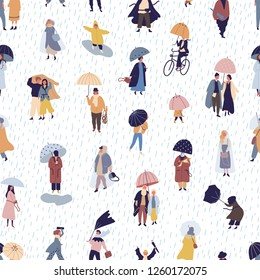 Seamless pattern with people walking under umbrella on autumn rainy day. Backdrop with men and women under rain, rainfall or shower. Colorful vector illustration in flat style for textile print.