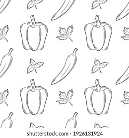 Seamless pattern with peppers and herbs. Black and white pattern with vegetables. Elements in the linear style are isolated without a background. For design of kitchen accessories and food packaging