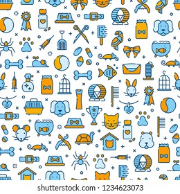 Seamless pattern for pet shop, veterinary clinic, pet store, zoo, shelter. Flat style design, vector illustration.