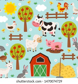 seamless pattern with pets in the barnyard  - vector illustration, eps