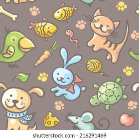 Seamless pattern with pets and their food