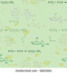 Seamless pattern with photosynthesis equation