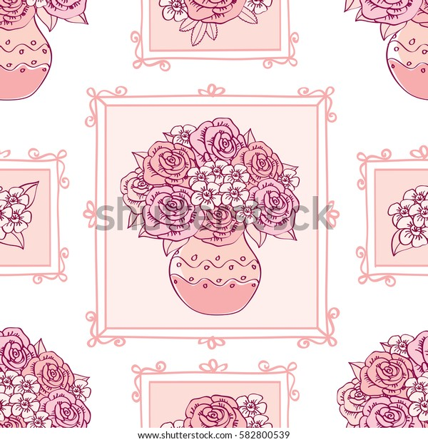 Seamless pattern. Picture with flowers in frames for textile, wallpapers, scrapbook. Vector illustration.