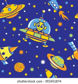 Seamless pattern with pictures of spaceships, aliens, stars and planets