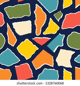 Seamless pattern with pieceis of paper on dark background.
