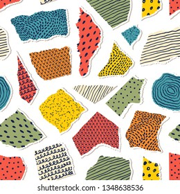 Seamless pattern with pieceis of paper on yellow background.Surface pattern.