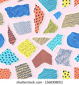 Seamless pattern with pieces of paper on pink background.Surface pattern.