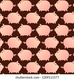 seamless pattern with pig, vector textile fabric print vector illustration