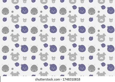 seamless pattern with pig,cow vector design illustration