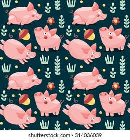 Seamless pattern with pigs, plants and acorns
