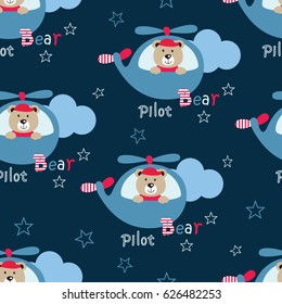 Seamless pattern with pilot bears, helicopters and lettering for scrapbook paper, wrapping, bedding pattern