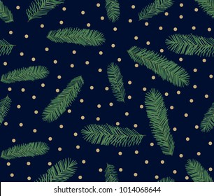 Seamless pattern of Pine Christmas spruce, hand drawn botanical print. Seasonal wallpaper, winter background, textile fabric, texture design on blue