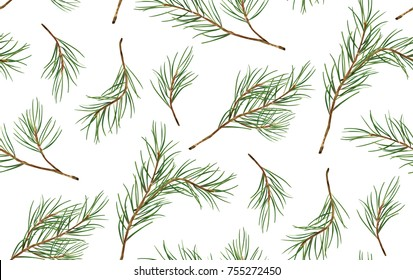 Seamless pattern of Pine Christmas spruce, new year tree natural branch, green leaves, hand drawn botanical print. Vector, seasonal wallpaper, winter bacgkround, textile fabric, texture, paper design