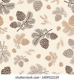 Seamless pattern pine cone forest