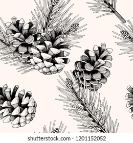 Seamless pattern with pine cones and branches