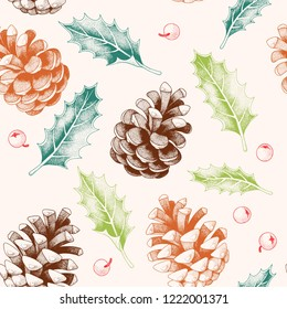 Seamless pattern with pine cones and holly