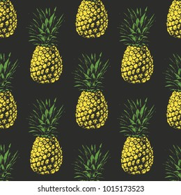 Seamless pattern.  Pineapple background. Vector illustration. Perfect for invitations, greeting cards, wrapping paper, posters, fabric print.