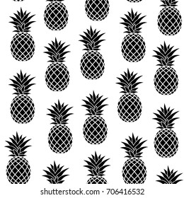 Seamless Pattern with Pineapple. Black on White Background. Vector Illustration. Summer time, Fruits, Health Design Collection