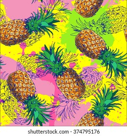 Seamless pattern with pineapple and color splash