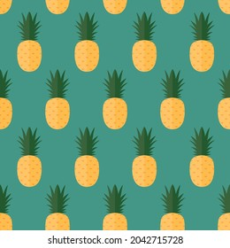 seamless pattern pineapple fruit food on blue background wallpaper textiles vector giftwrap