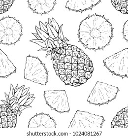 seamless pattern of pineapple fruit with hand drawn or sketch style