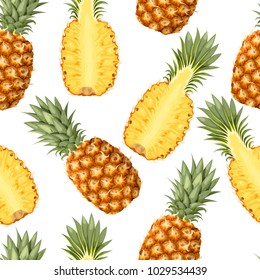 Seamless pattern with pineapple fruits