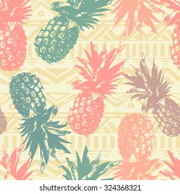 Seamless pattern with pineapple on tribal background  in vector