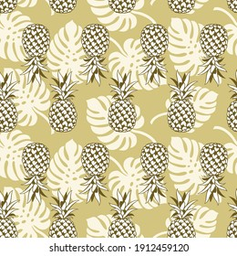 seamless pattern with pineapple tropical fruit