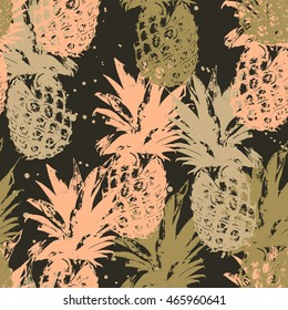 Seamless pattern with pineapple in vector