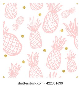 Seamless pattern with  pineapple. Vintage pineapple seamless for your business. Pineapple seamless pattern.Vector Seamless Pattern with Pineapples. Rose quartz modern color. Gold texture. Pink pattern