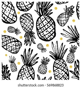 Seamless pattern with pineapple. Vintage pineapple seamless for your business. Vector Gold texture. Black ink  pattern