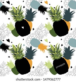 Seamless pattern with pineapples. Avant-garde background with stylized pineapples. Wallpaper, print, wrapping paper, packaging, banner, poster, modern textile design. Vector illustration.